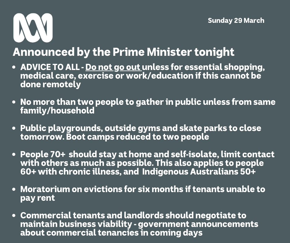 Australia COVID-19 Prime minister update 29 March 2020 Social gathering restrictions