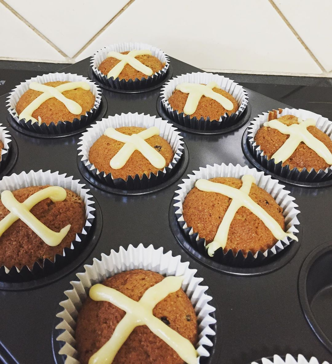 Hot cross bun cupcakes kids friendly recipe