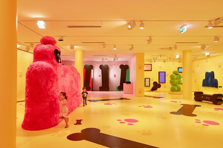 Kids running around Misaki Kawai's Children's Gallery exhibit called Moja Moja Life at the NGV Triennial 2020, fun things to do with kids school holidays Melbourne and summer holidays 2021